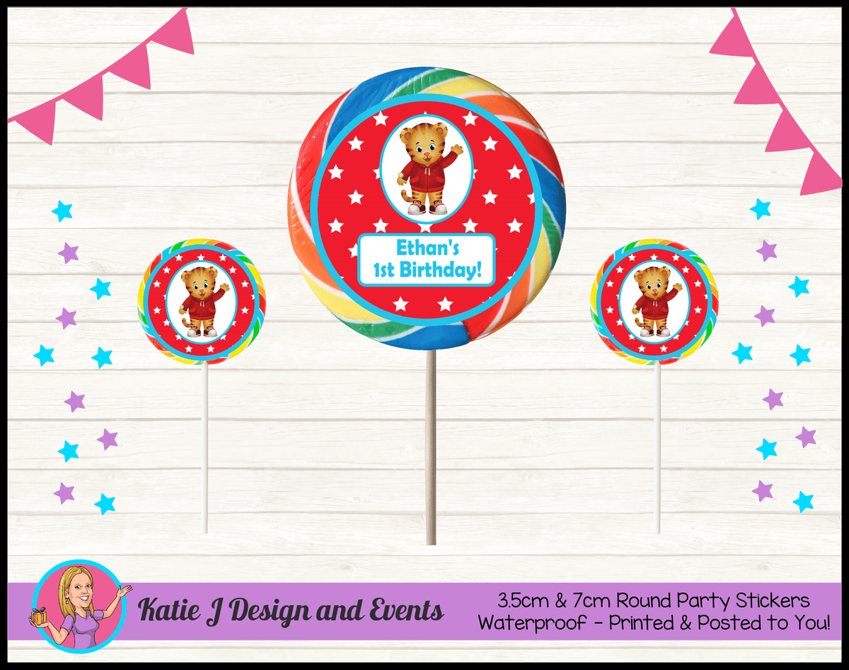Personalised Daniel Tiger Birthday Party Round Lollipop Stickers