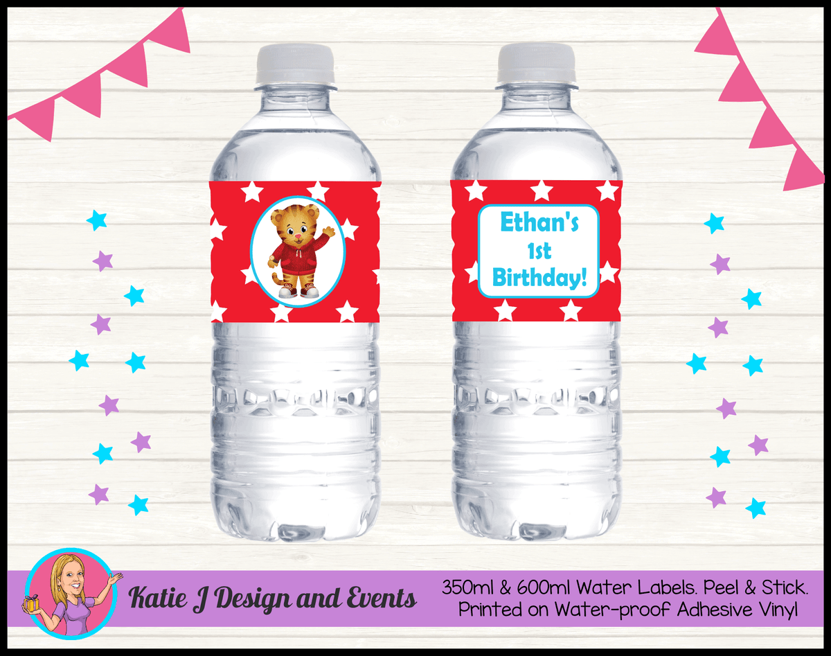 Personalised Daniel Tiger Birthday Party Water Bottle Labels