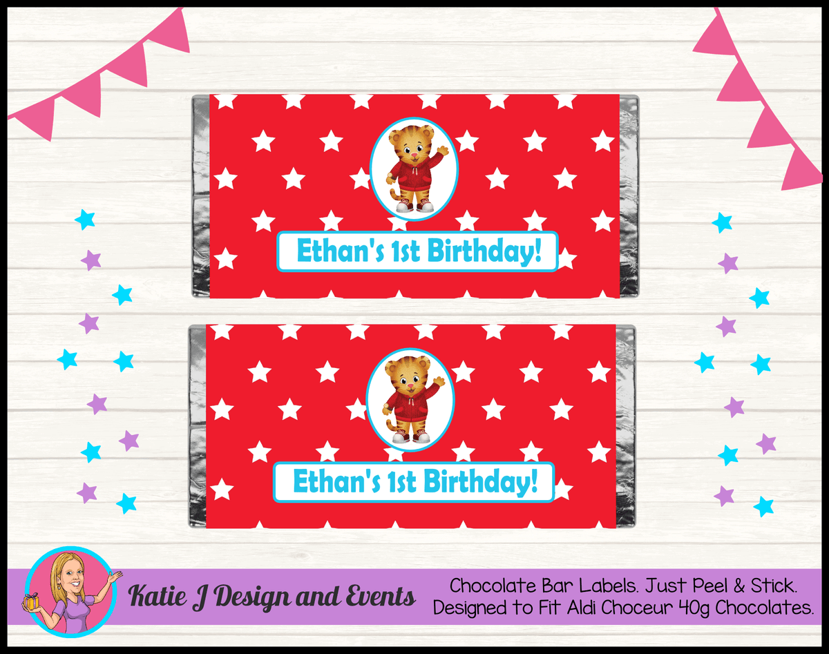 Personalised Daniel Tiger Birthday Party Chocolate Labels Wrappers