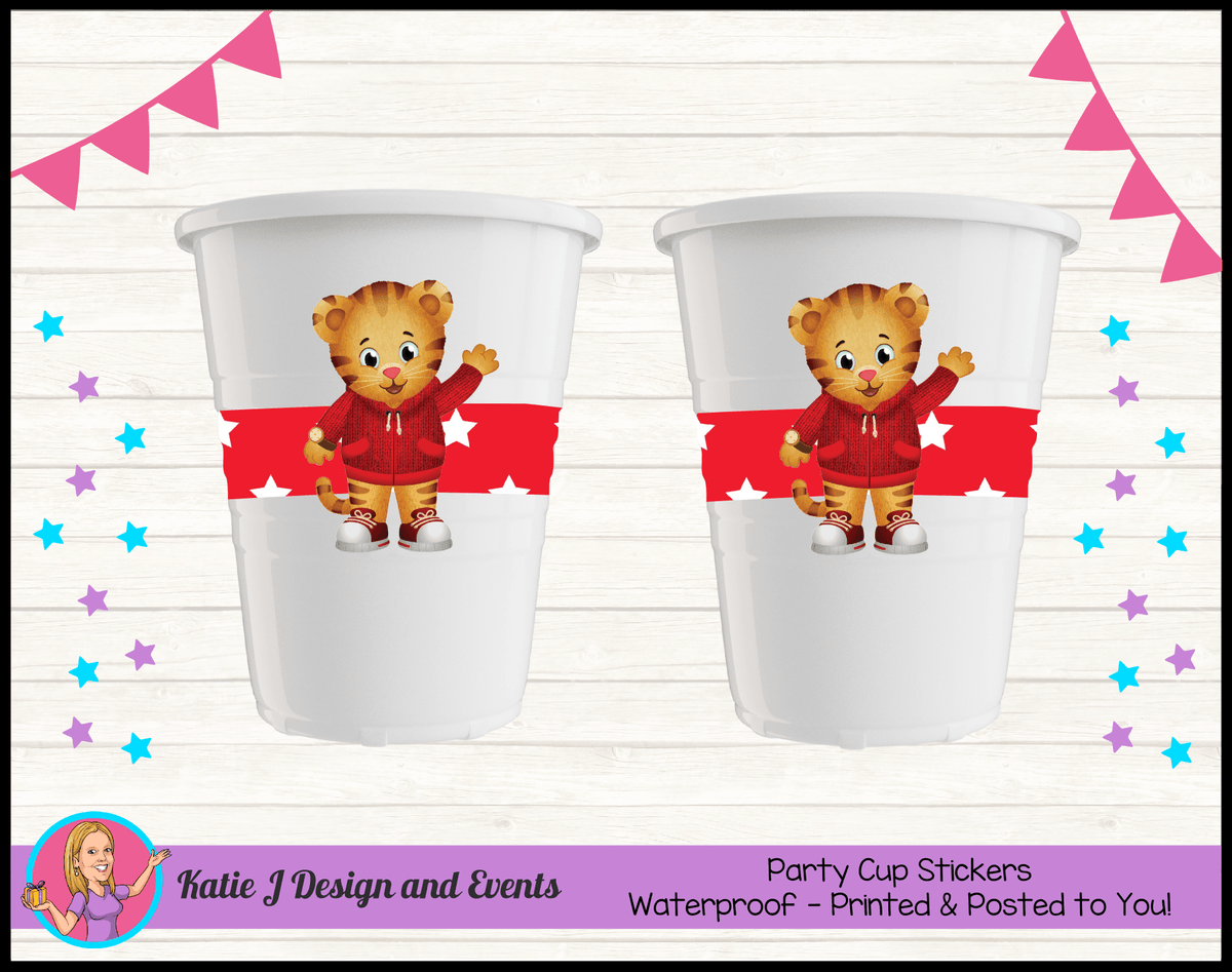 Personalised Daniel Tiger Birthday Party Cup Stickers Cups