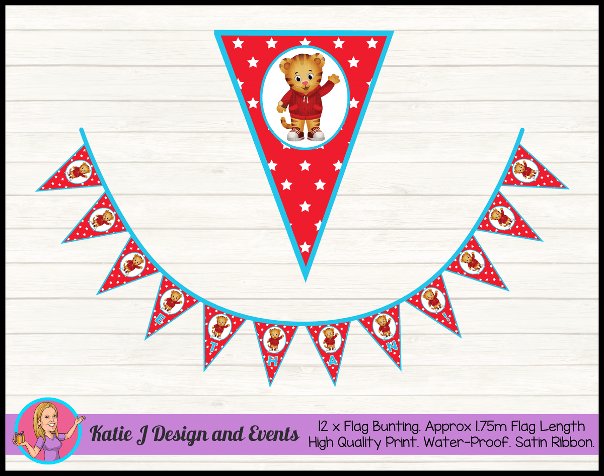 Personalised Daniel Tiger Birthday Party Flag Bunting Name
