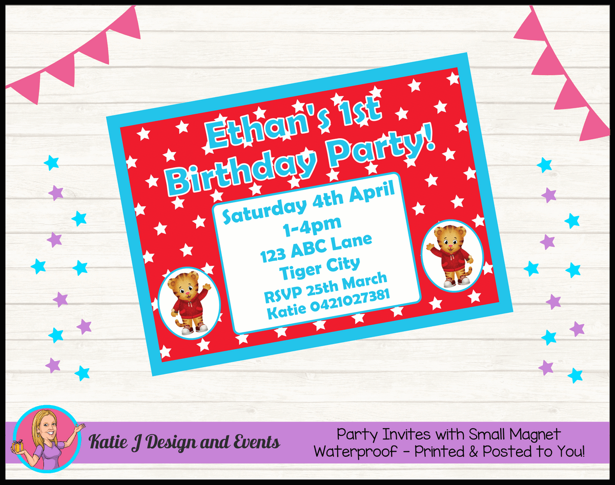 Personalised Daniel Tiger Birthday Party Invites Invitations