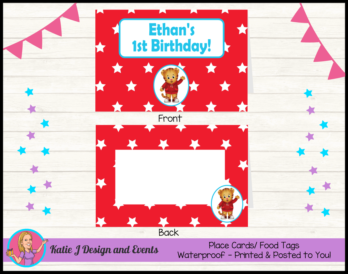 Personalised Daniel Tiger Birthday Party Place Cards