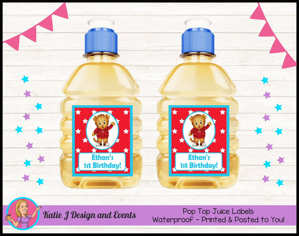 Personalised Daniel Tiger Birthday Party Pop Top Juice Labels
