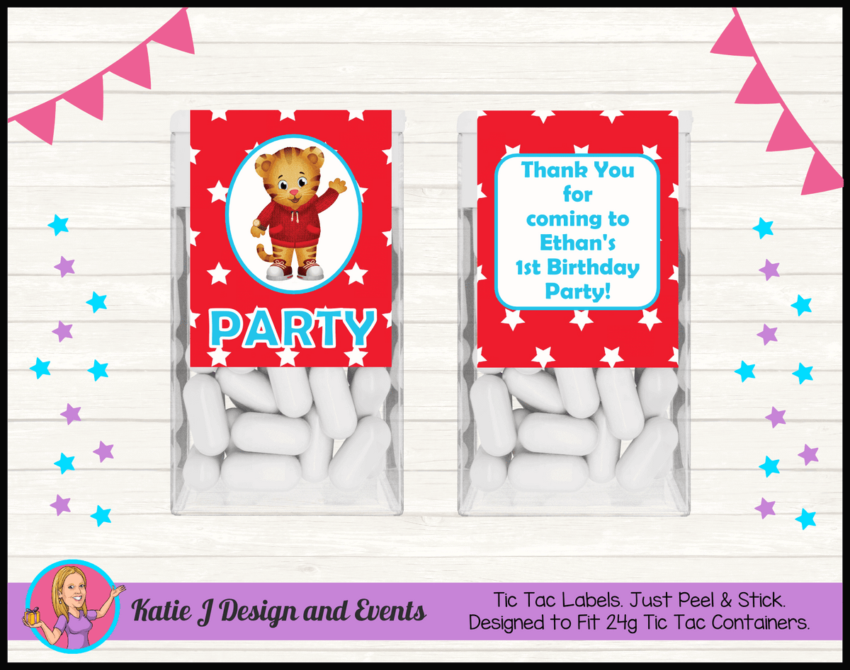Personalised Daniel Tiger Birthday Party Tic Tac Mint Labels