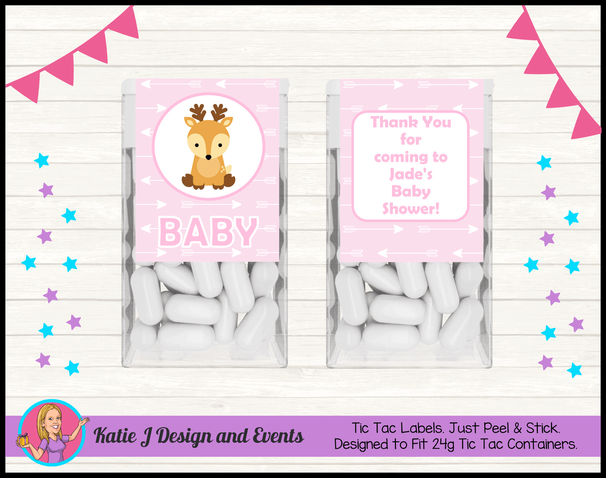 Personalised Deer Baby Shower Tic Tac Mint Labels