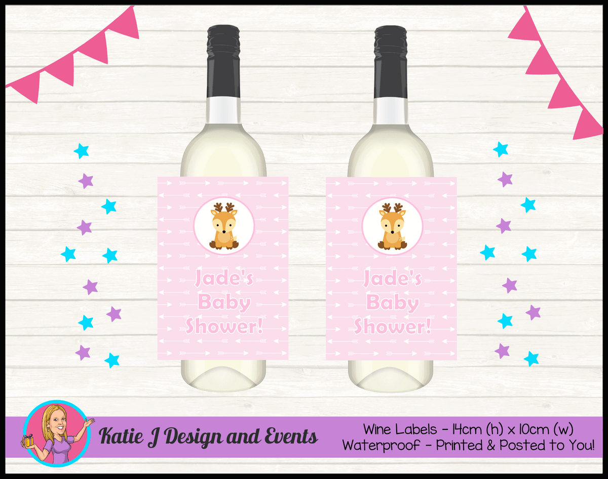 Personalised Deer Baby Shower Wine Bottle Labels
