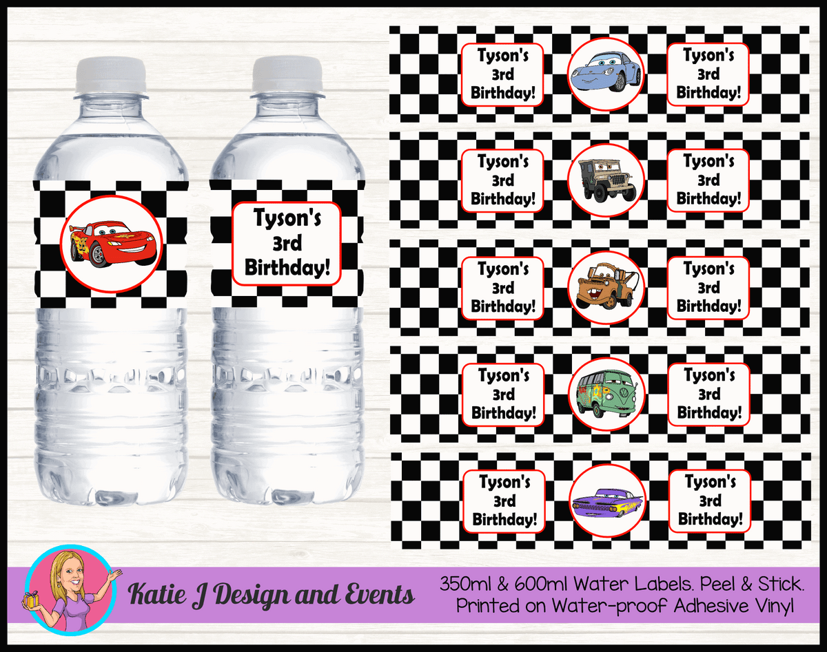 Racing Check Disney Cars Lightning McQueen Water Labels