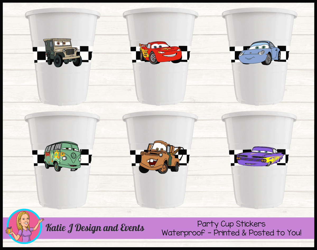Racing Check Disney Cars Lightning McQueen Party Cup Stickers Cups