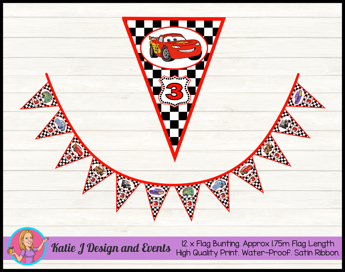 Racing Check Disney Cars Lightning McQueen Birthday Party Bunting