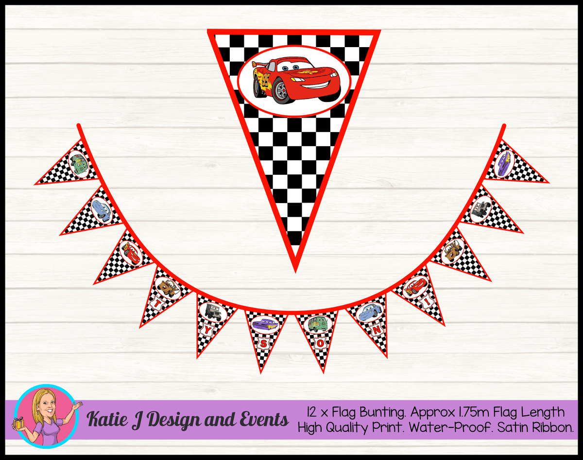 Racing Check Cars Lightning McQueen Birthday Party Flag Bunting Name