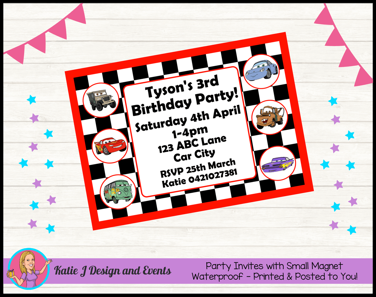 Racing Check Disney Cars Lightning McQueen Party Invites Invitations