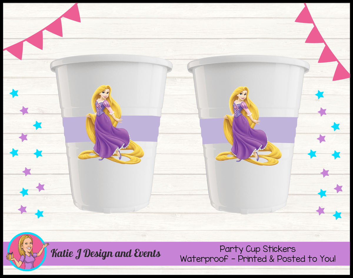 Personalised Rapunzel Party Cup Stickers Cups