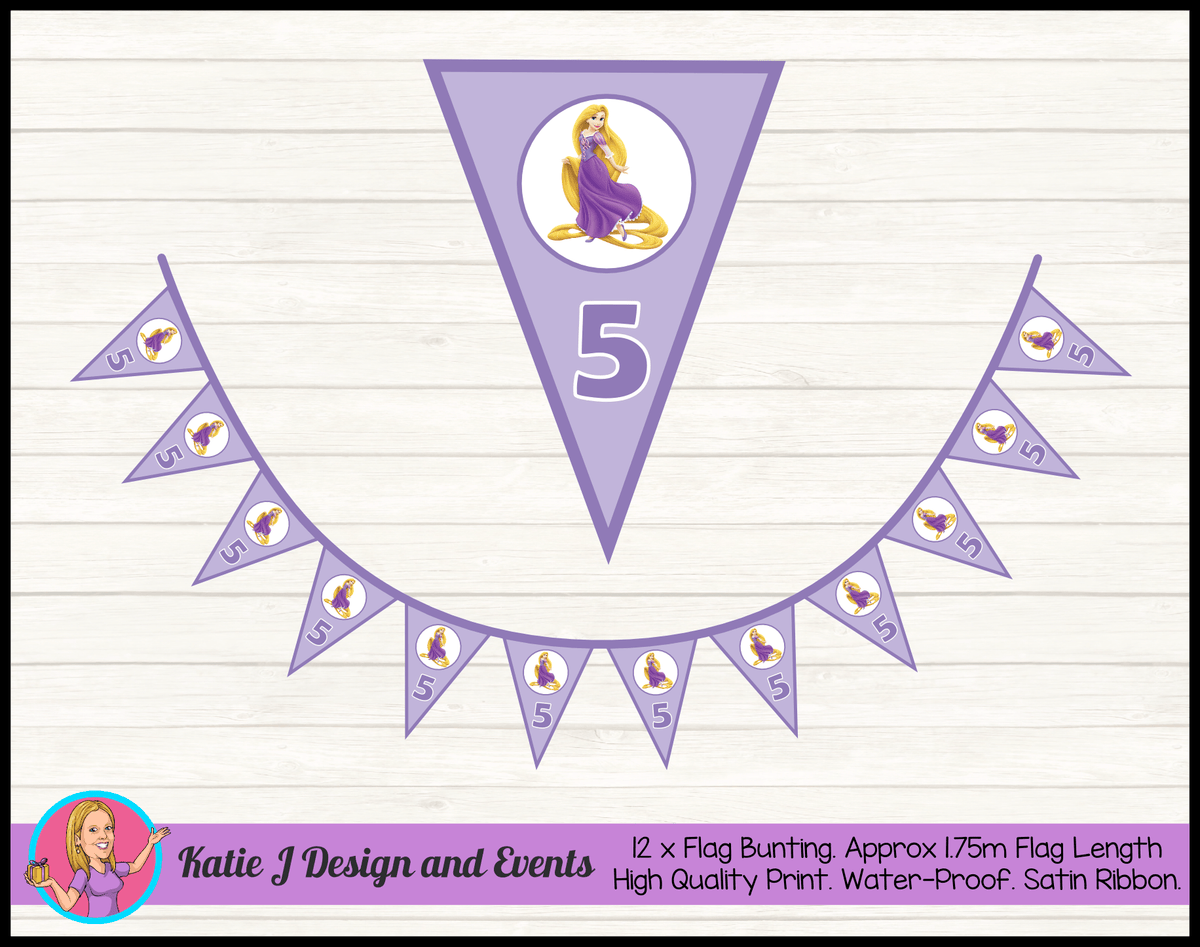 Personalised Rapunzel Birthday Party Flag Bunting