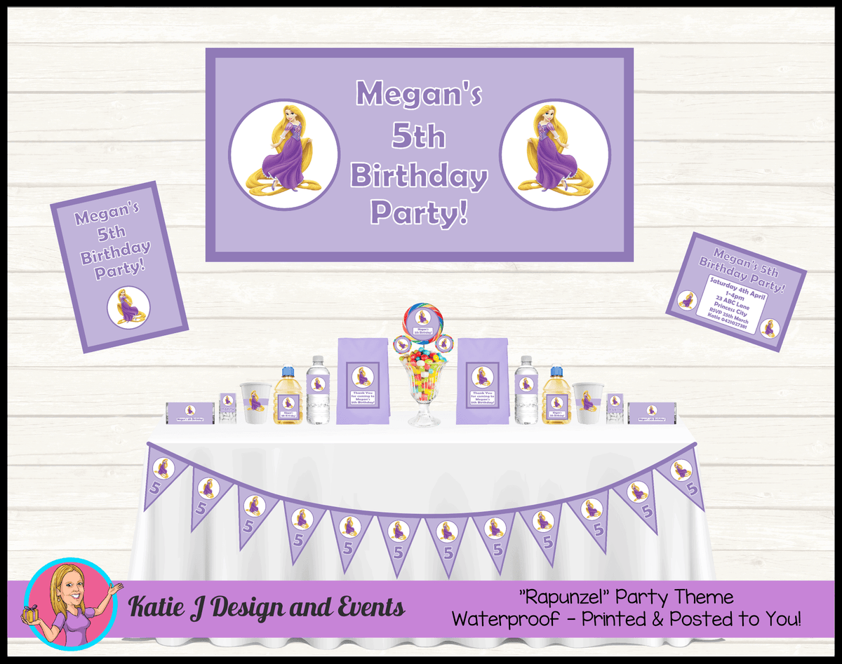 Personalised Rapunzel Party Packs Decorations Supplies