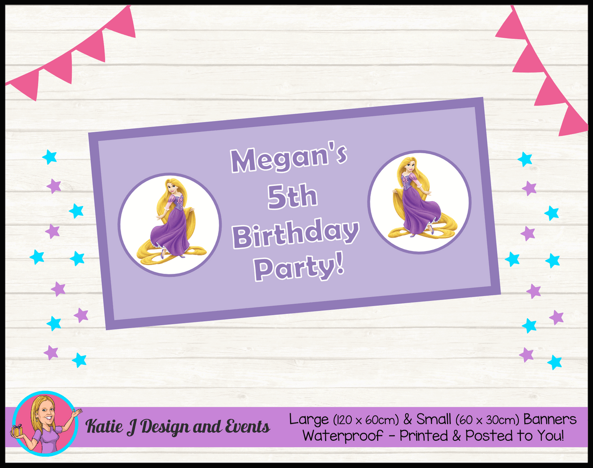 Personalised Rapunzel Birthday Party Banner