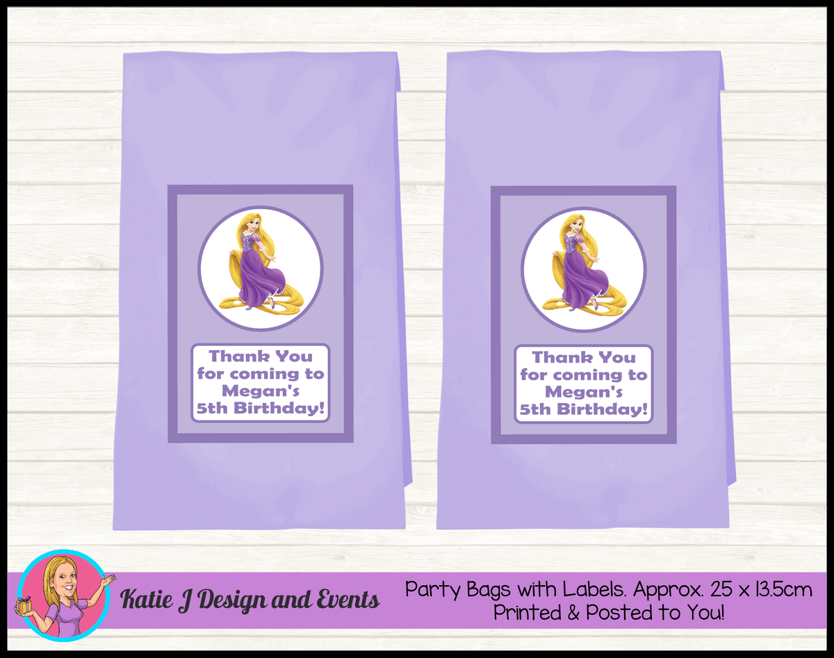 Personalised Rapunzel Birthday Party Loot Bags