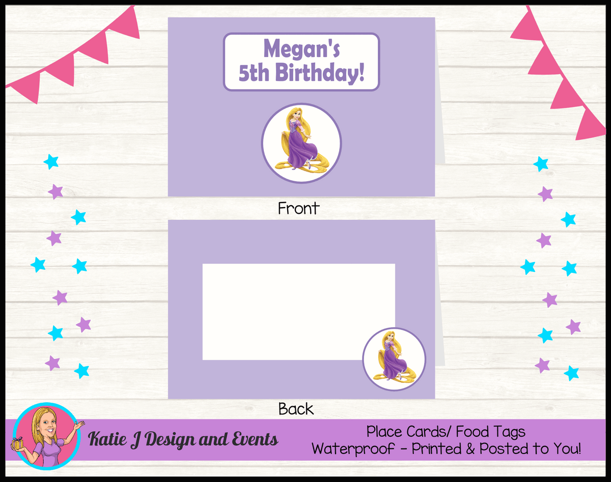 Personalised Rapunzel Party Place Cards