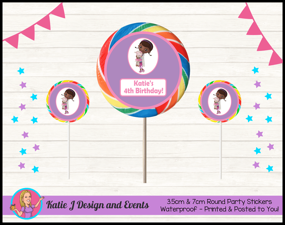 Personalised Doc McStuffins Birthday Party Round Lollipop Stickers
