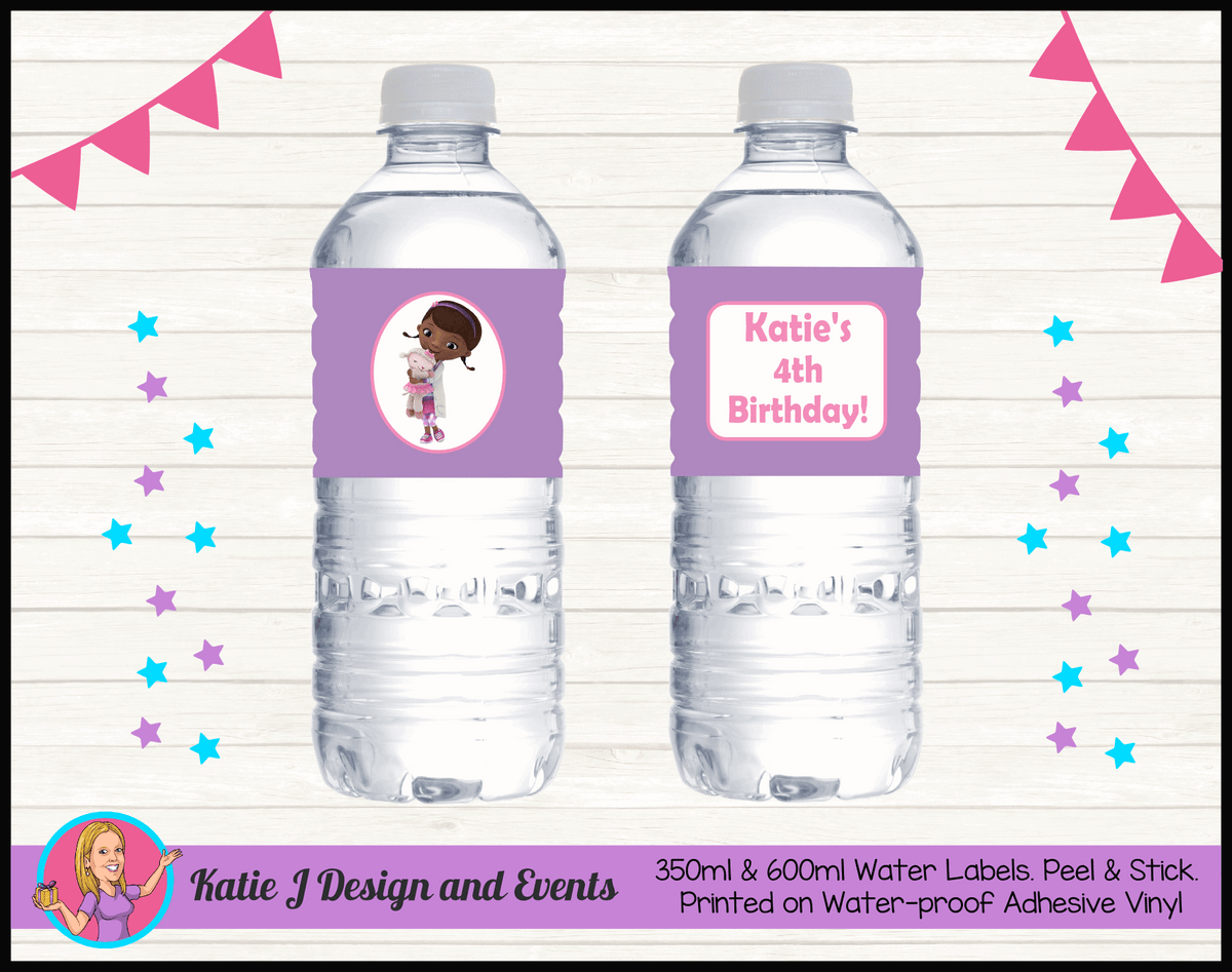 Personalised Doc McStuffins Birthday Party Water Bottle Labels