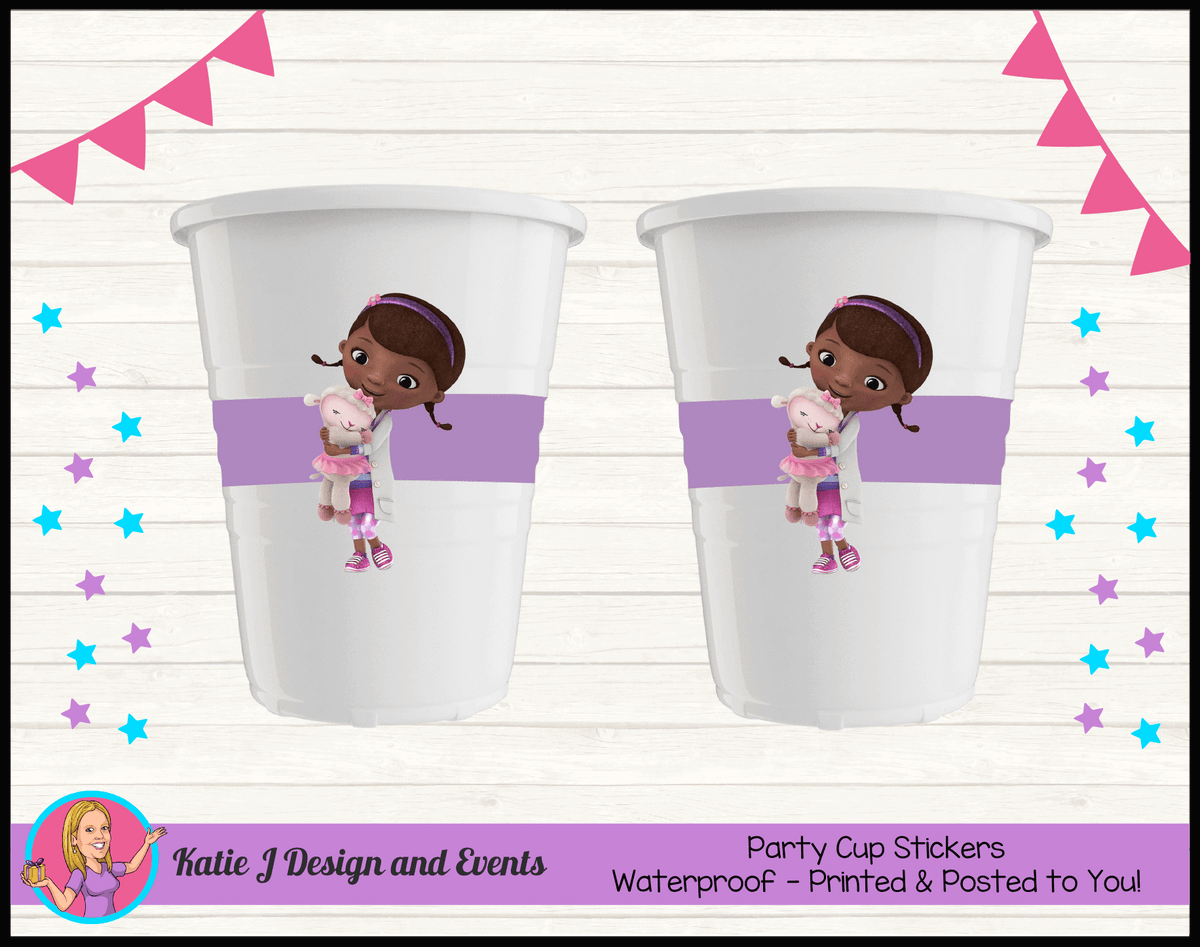 Personalised Doc McStuffins Birthday Party Cup Stickers Cups