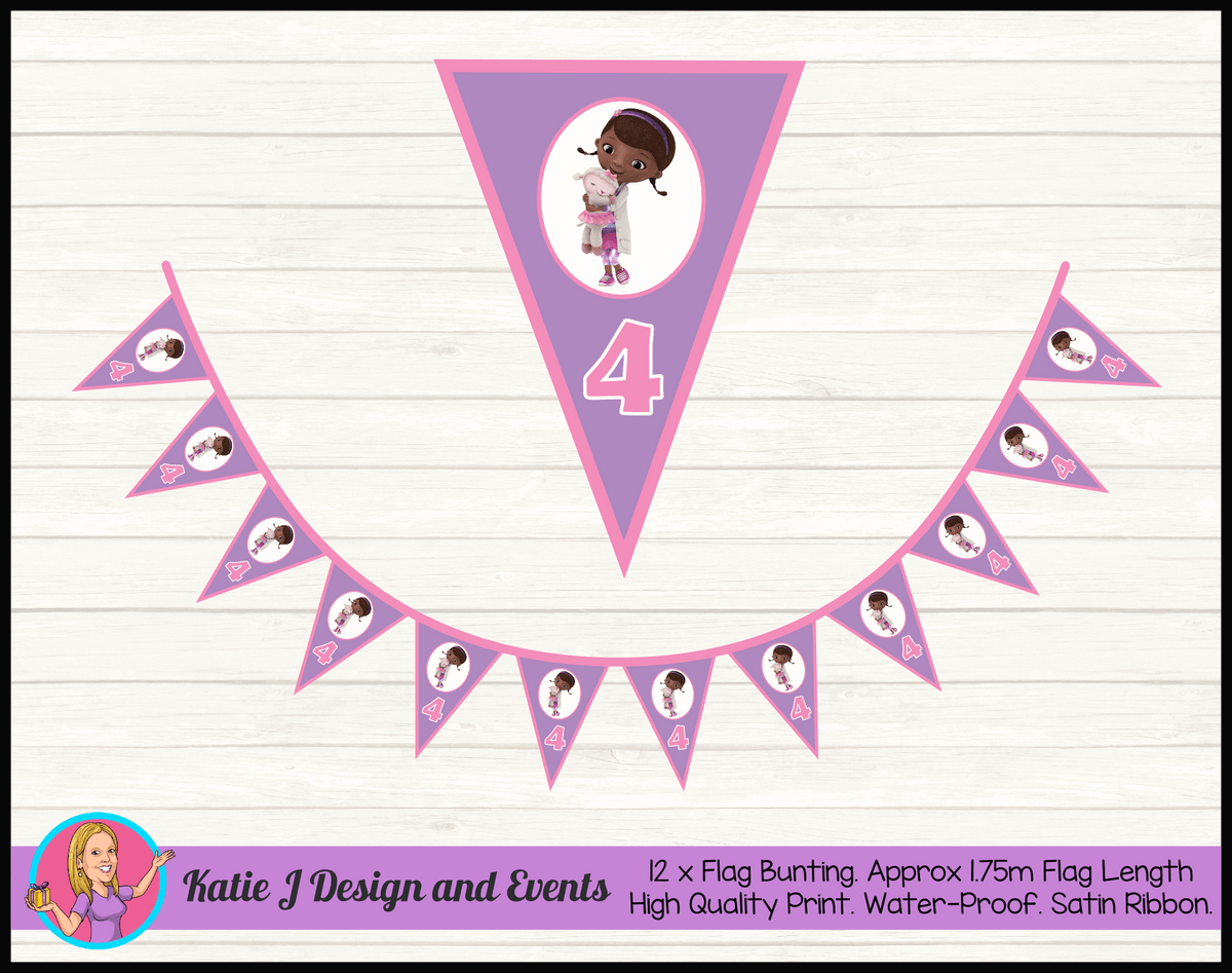 Personalised Doc McStuffins Birthday Party Flag Bunting