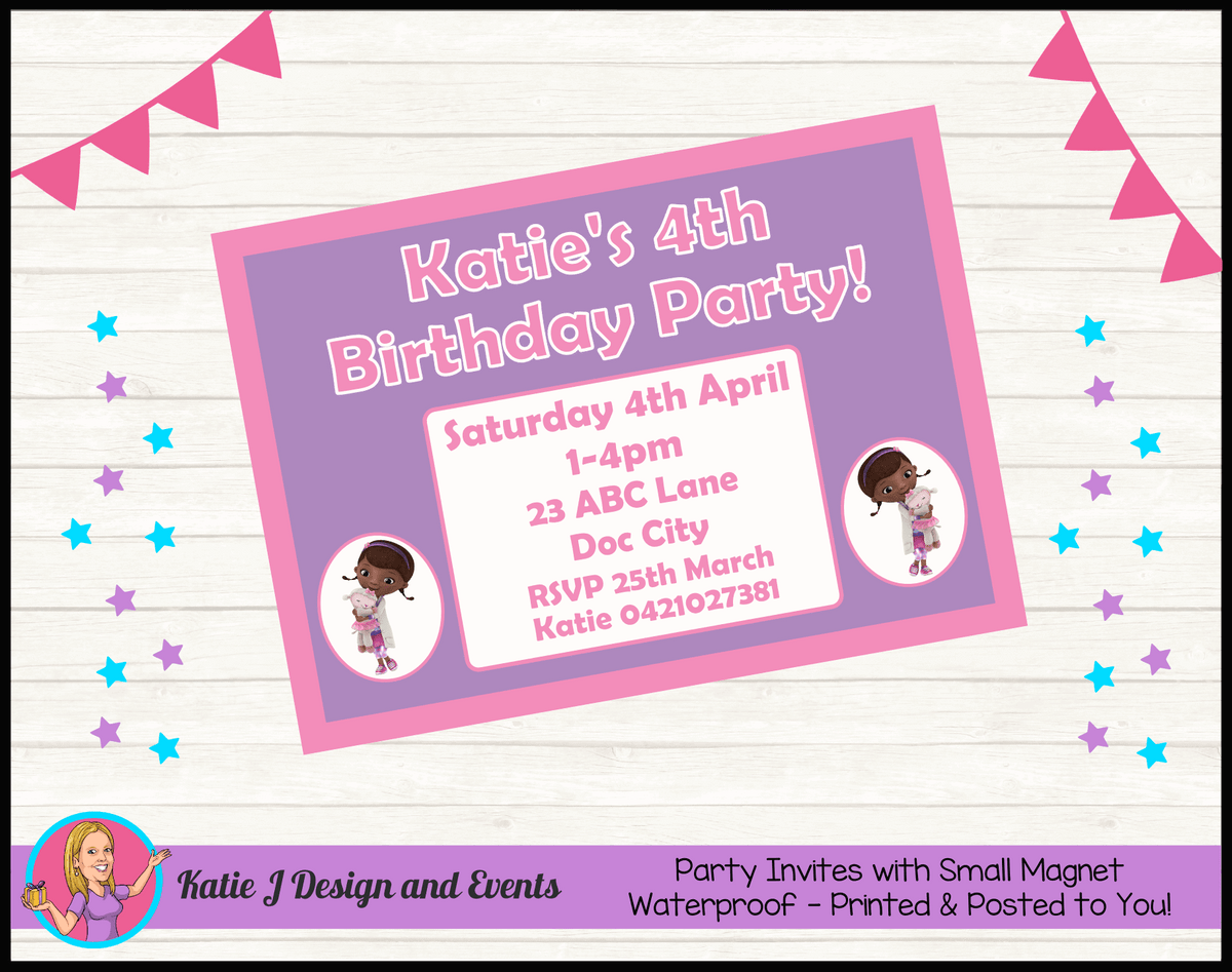Personalised Doc McStuffins Birthday Party Invites Invitations