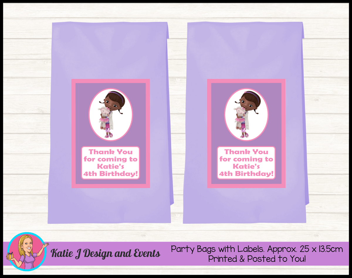 Personalised Doc McStuffins Birthday Party Loot Bags