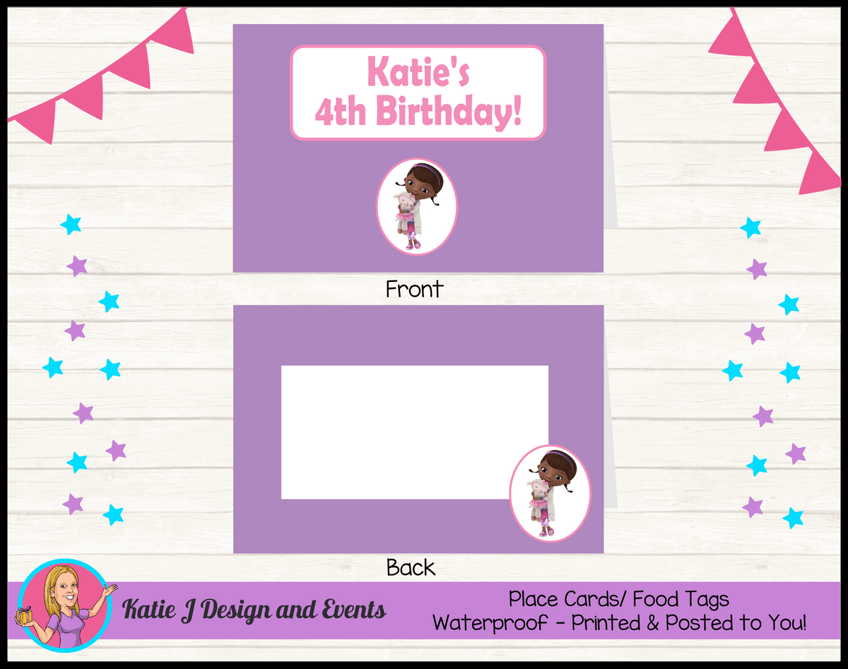 Personalised Doc McStuffins Birthday Party Place Cards