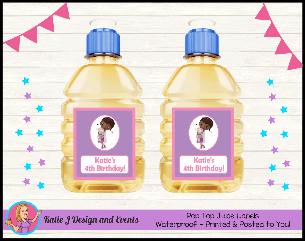 Personalised Doc McStuffins Birthday Party Pop Top Juice Labels