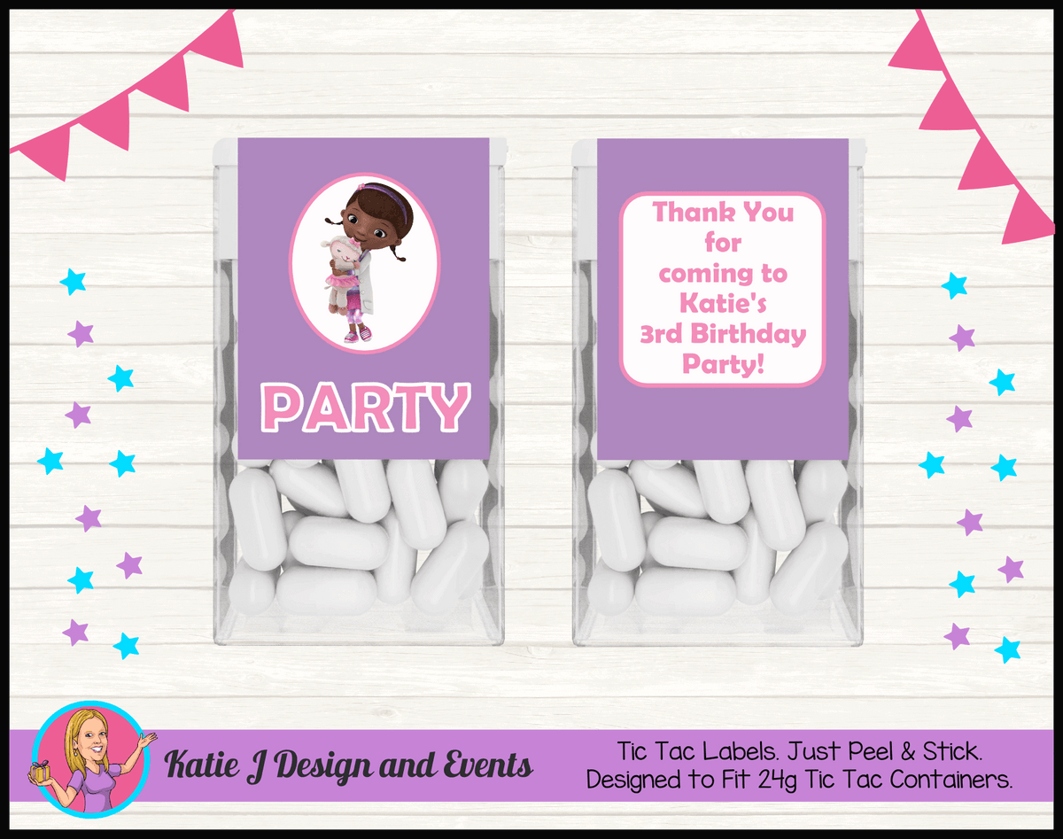 Personalised Doc McStuffins Birthday Party Tic Tac Mint Labels