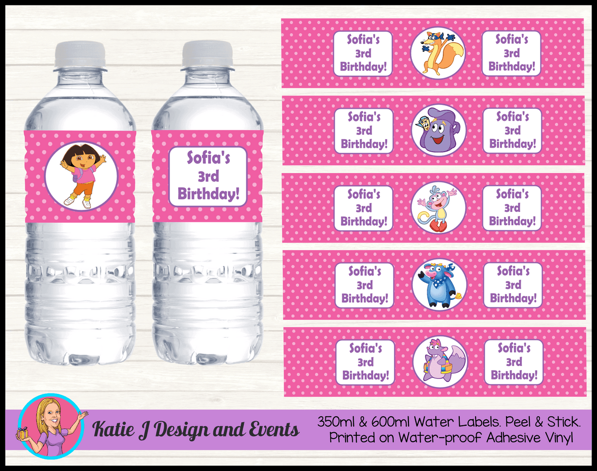 Personalised Dora the Explorer Birthday Party Water Bottle Labels