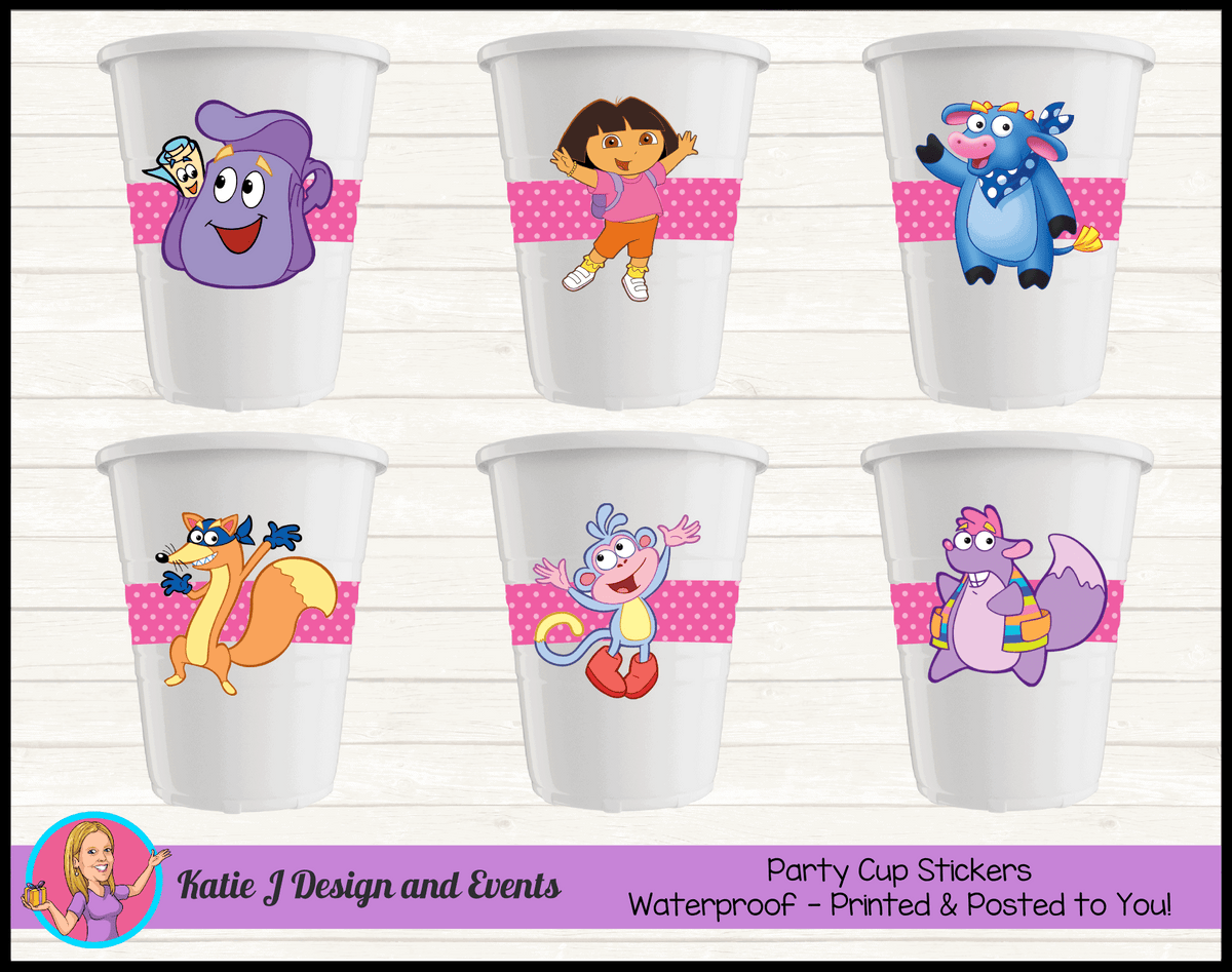 Personalised Dora the Explorer Birthday Party Cup Stickers Cups