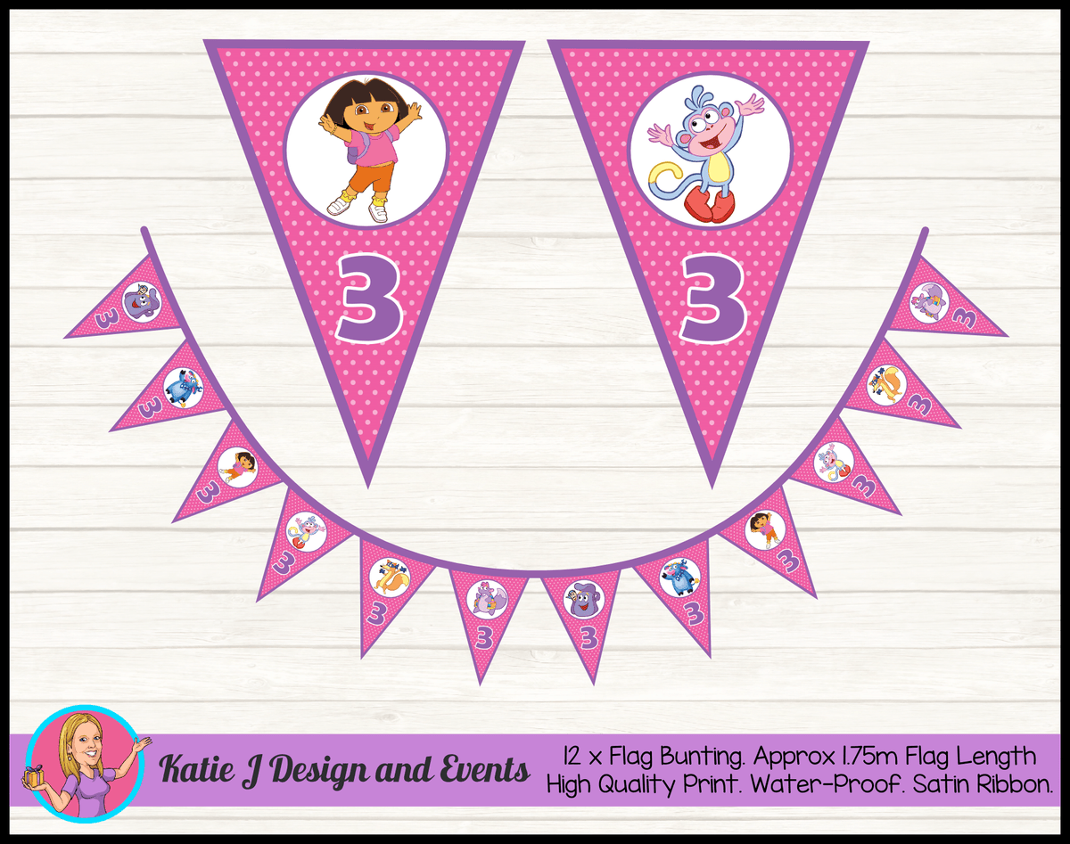 Personalised Dora the Explorer Birthday Party Flag Bunting