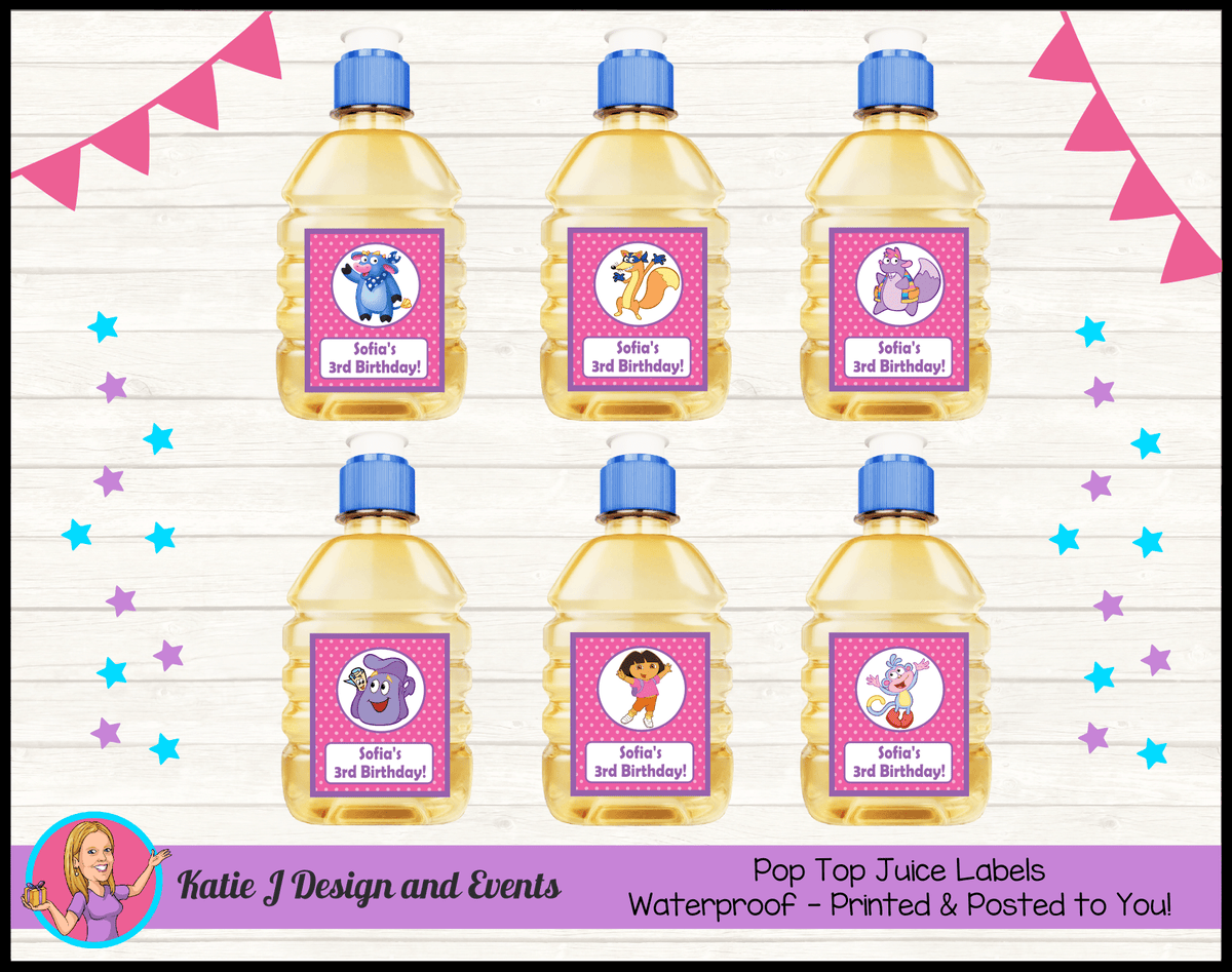 Personalised Dora the Explorer Birthday Party Pop Top Juice Labels