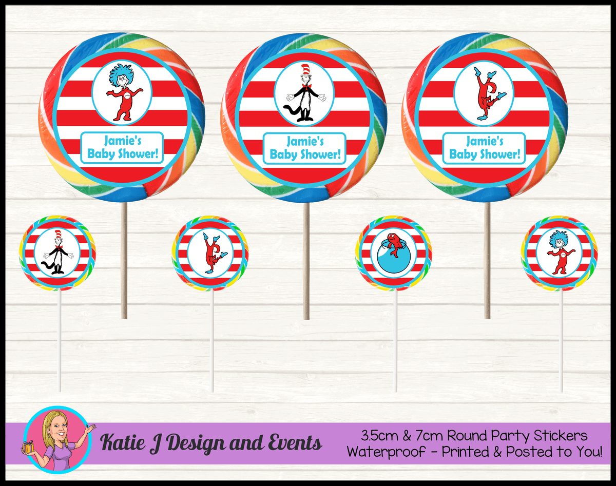 Personalised Dr Seuss Baby Shower Round Lollipop Stickers