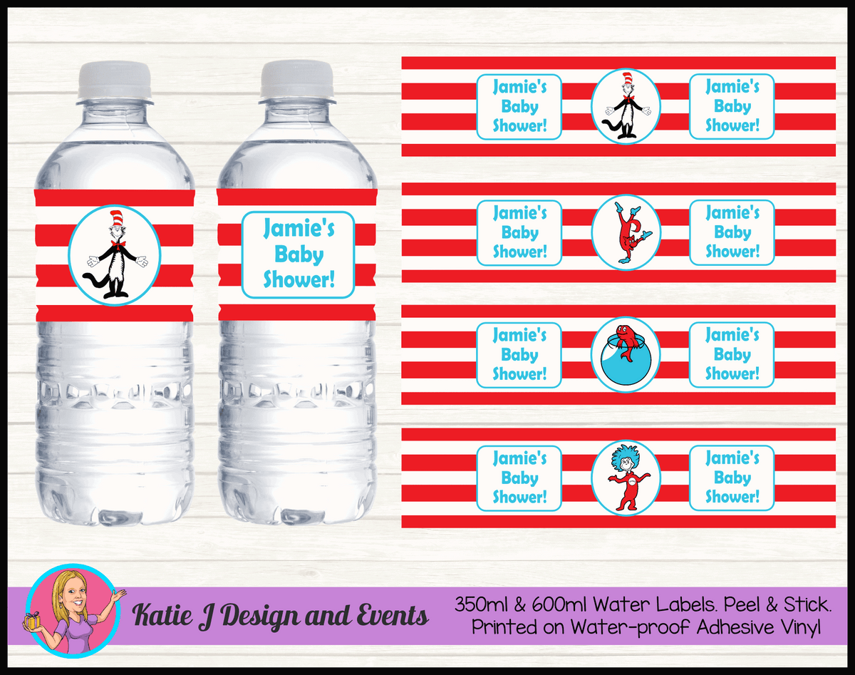 Personalised Dr Seuss Baby Shower Water Bottle Labels