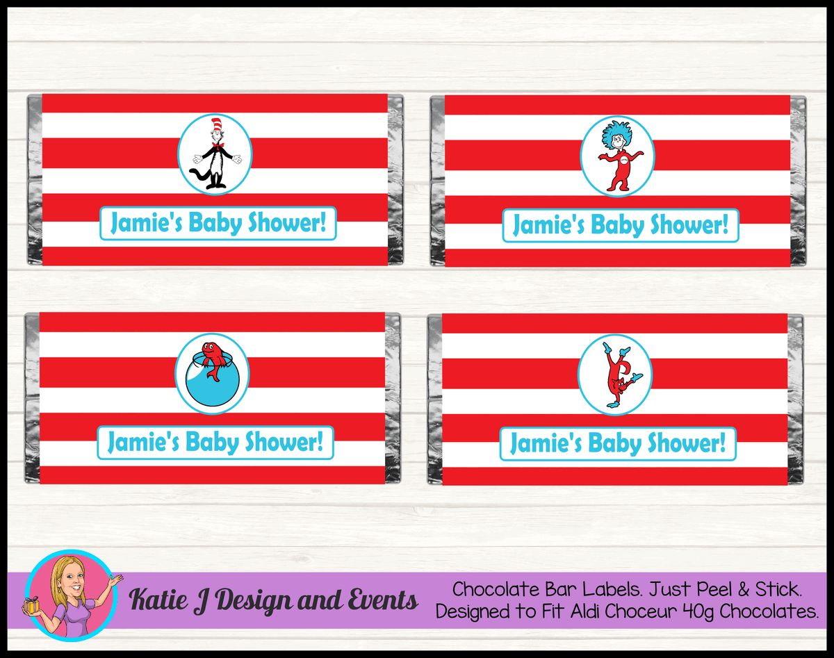 Personalised Dr Seuss Baby Shower Chocolate Labels Wrappers