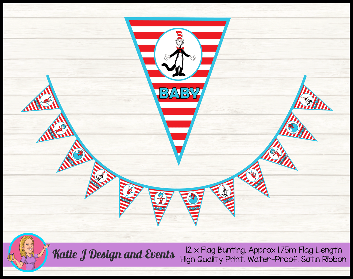 Personalised Dr Seuss Baby Shower Flag Bunting