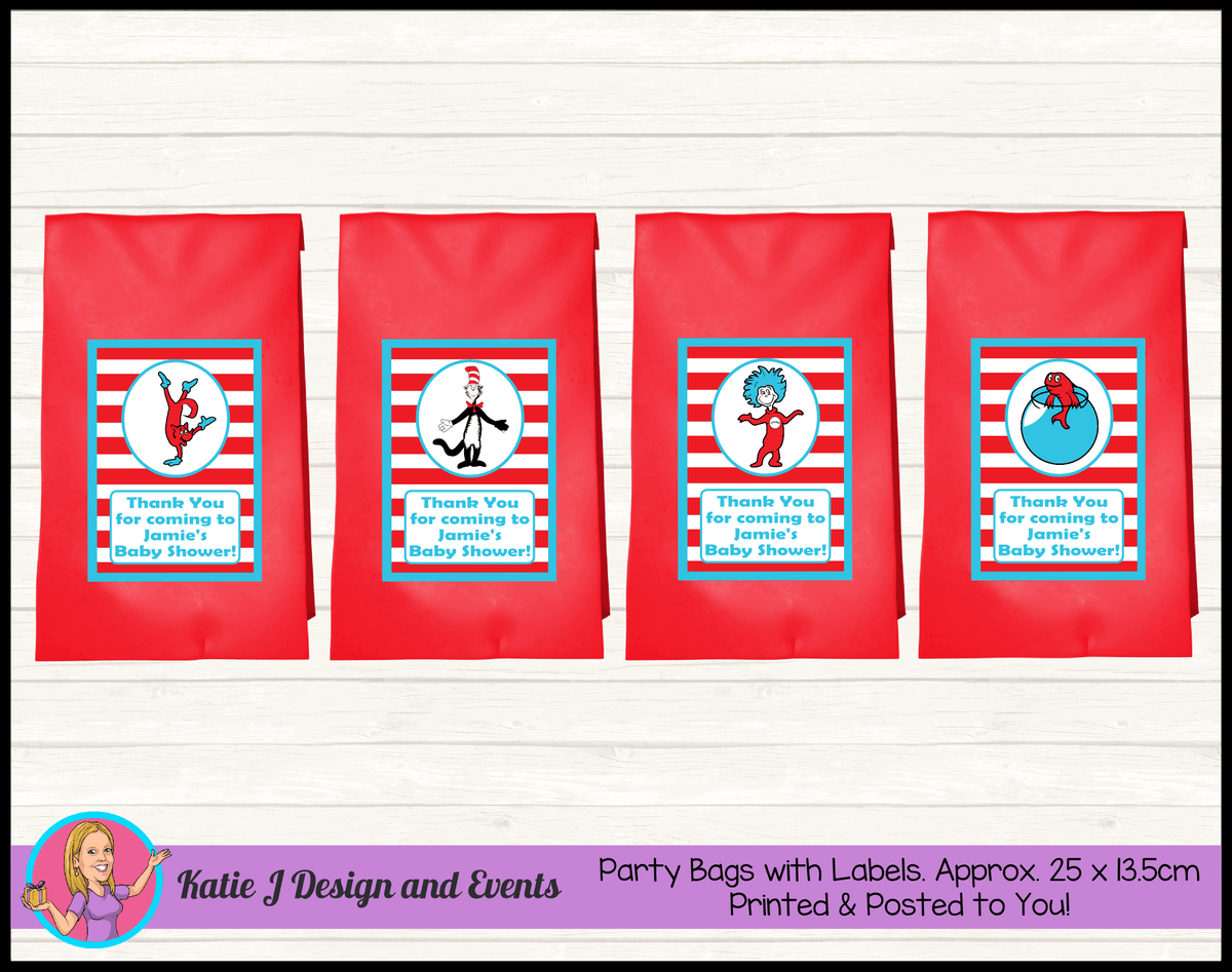 Personalised Dr Seuss Baby Shower Party Loot Bags