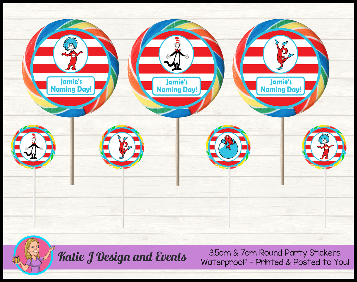 Dr Seuss Personalised Naming Day Round Lollipop Stickers