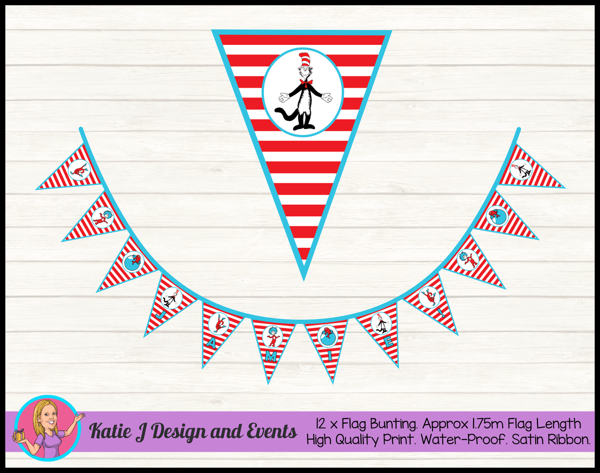 Dr Seuss Personalised Naming Day Flag Bunting Name