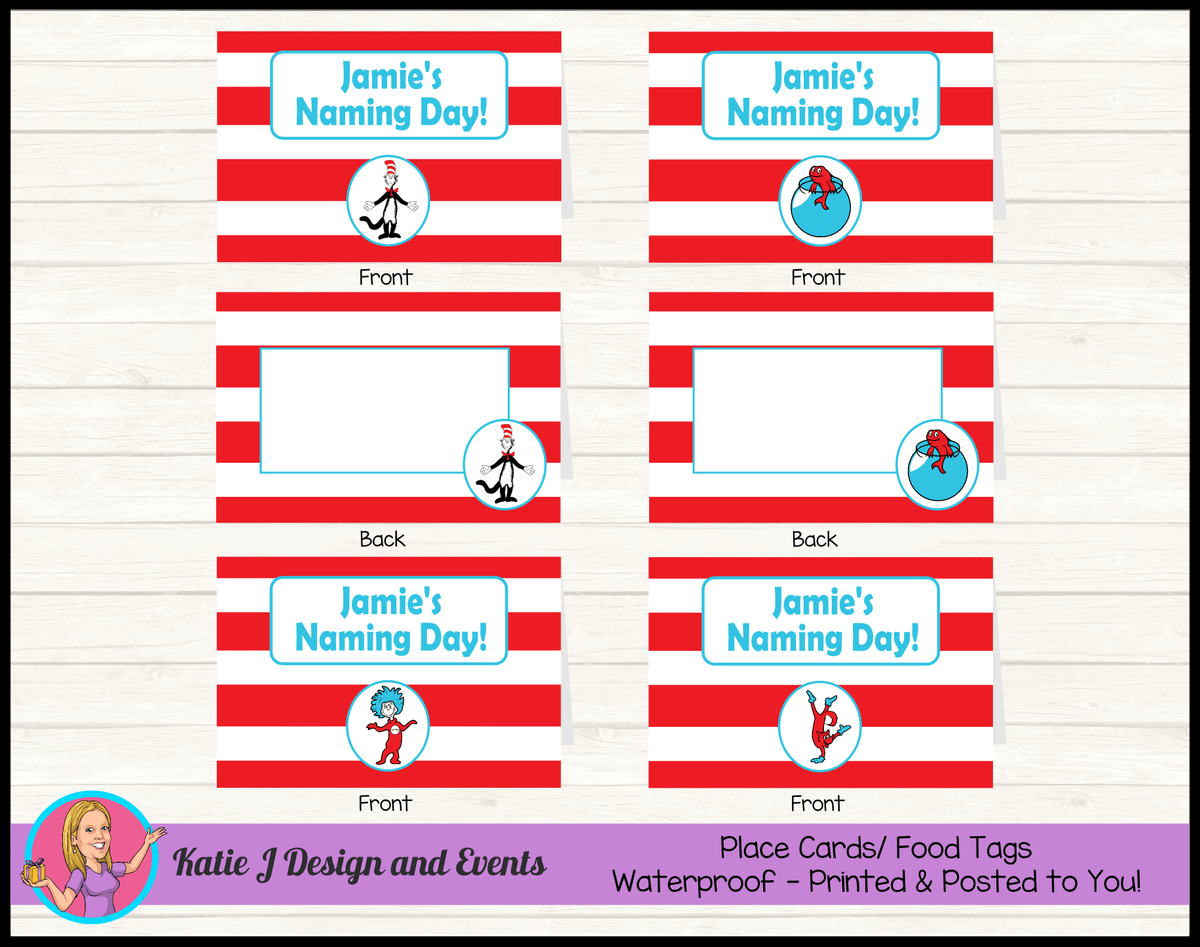 Dr Seuss Personalised Naming Day Place Cards
