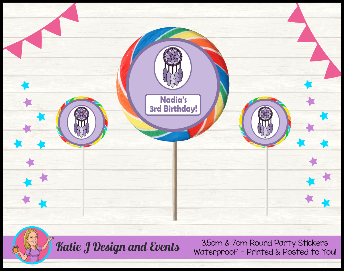 Personalised Purple Dreamcatcher Party Round Lollipop Stickers