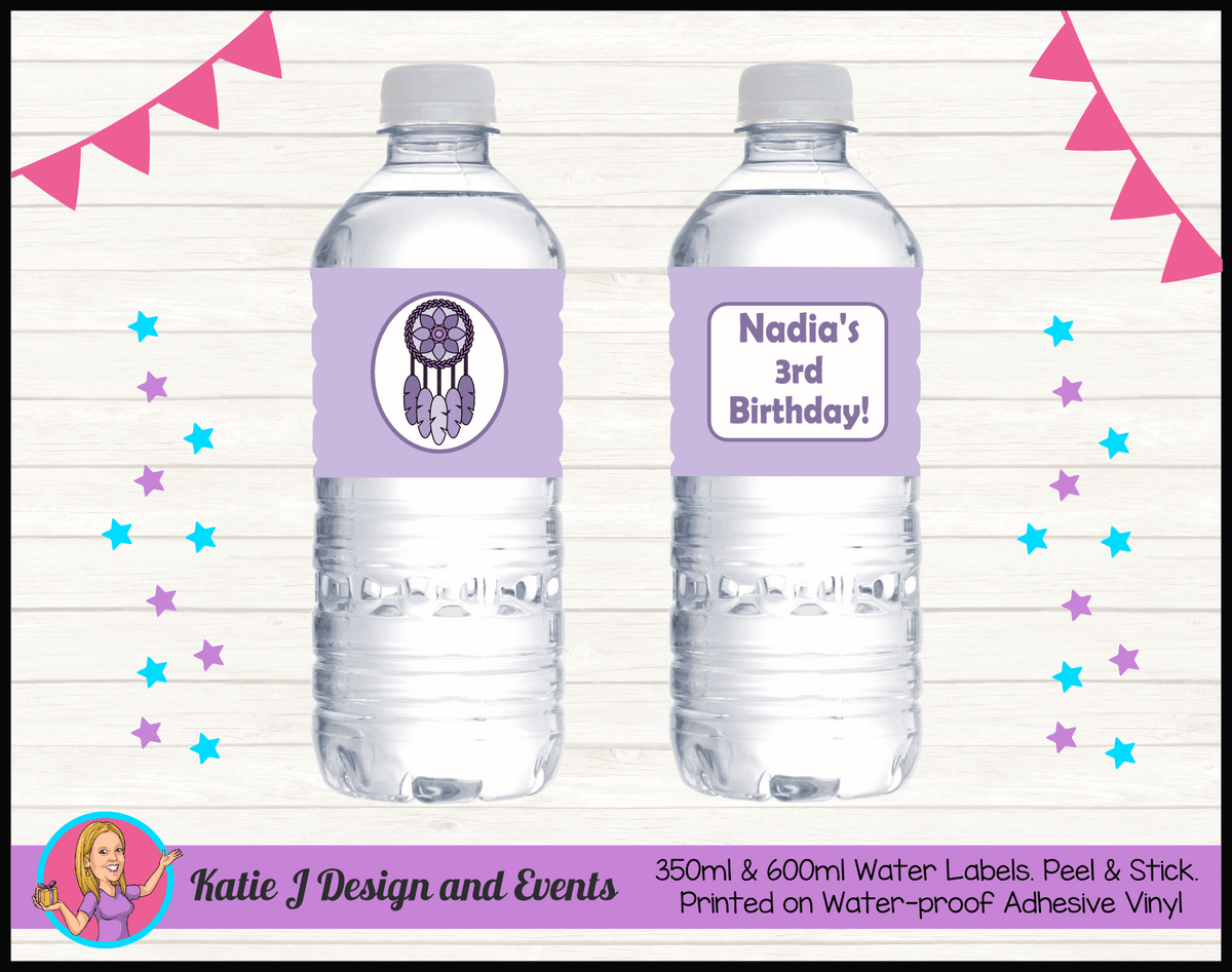 Personalised Purple Dreamcatcher Birthday Party Water Bottle Labels