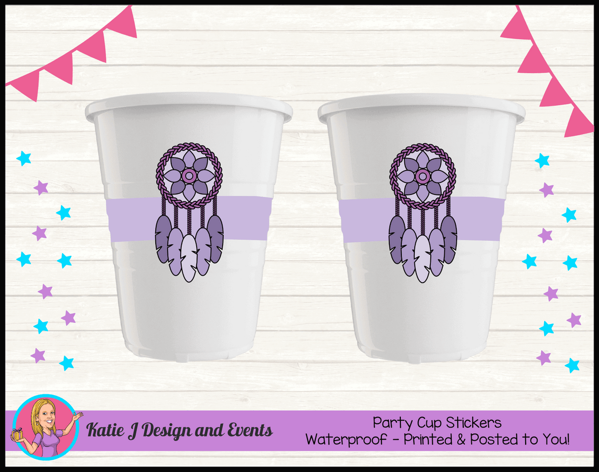 Personalised Purple Dreamcatcher Birthday Party Cup Stickers Cups
