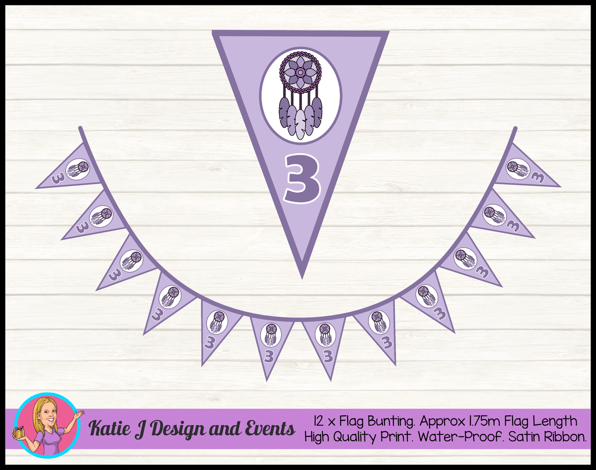 Personalised Purple Dreamcatcher Birthday Party Flag Bunting