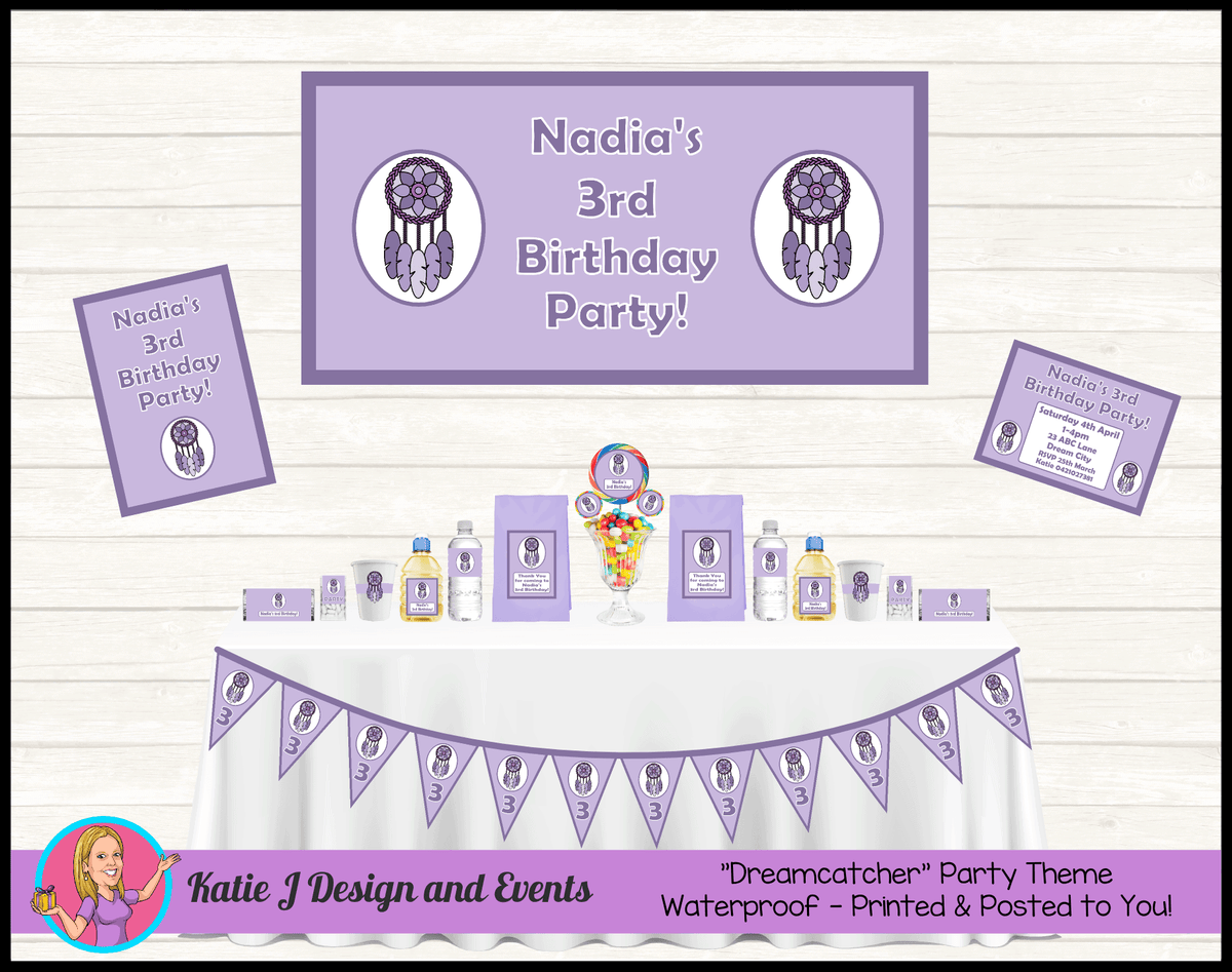 Personalised Purple Dreamcatcher Party Packs Decorations Supplies