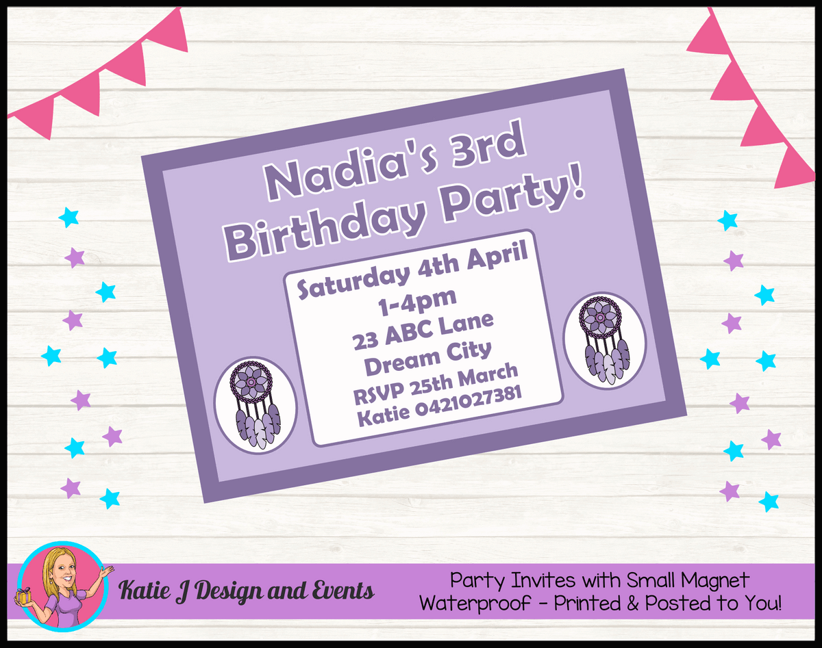 Personalised Purple Dreamcatcher Birthday Party Invites Invitations