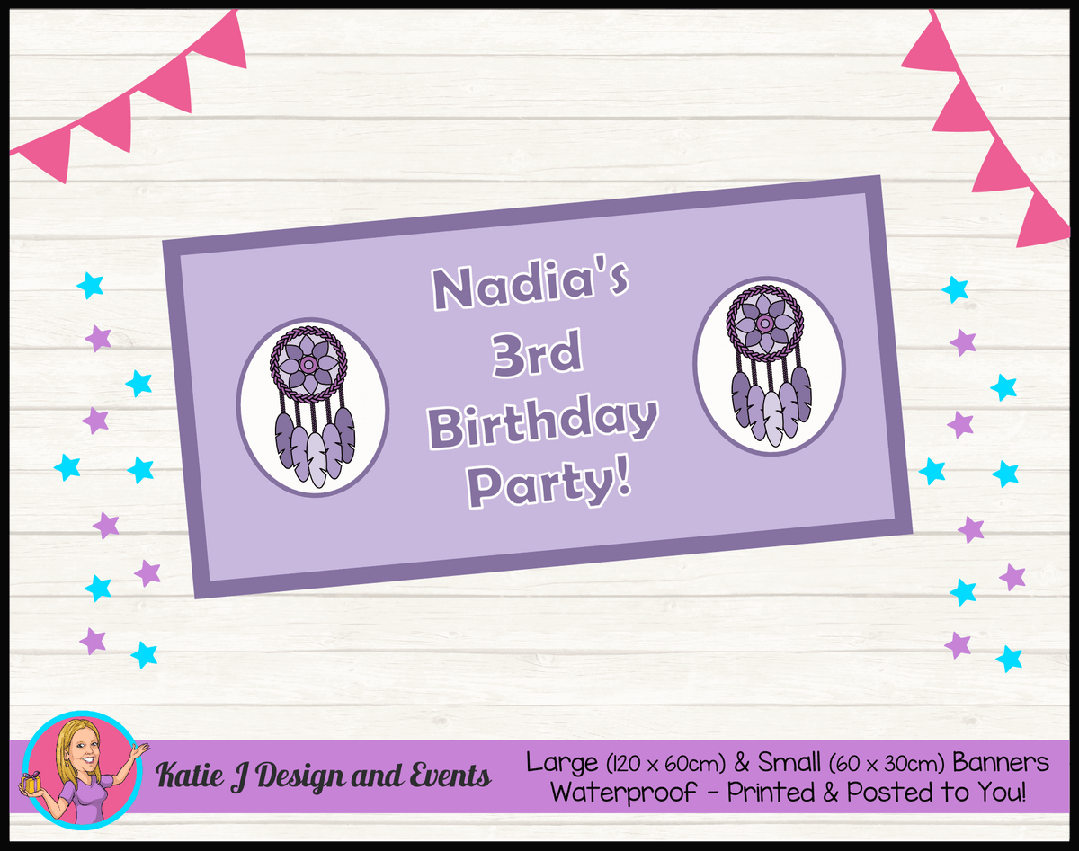 Personalised Purple Dreamcatcher Birthday Party Banner